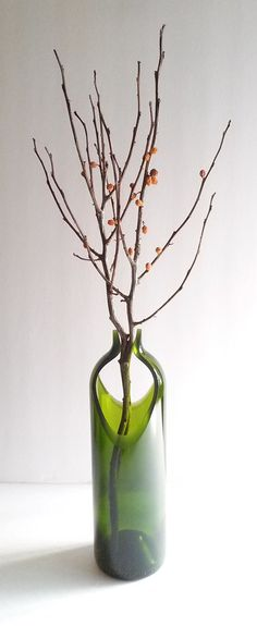 Wine Bottle Vase PINCH 10 inches Green Double cut by bottlevase
