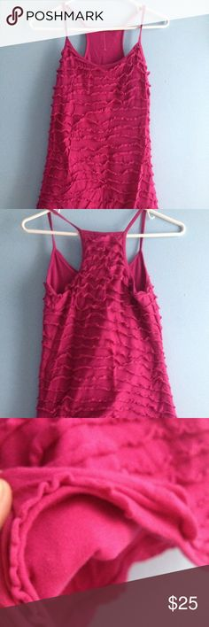 """Price ✂️ LA Made pink racerback ruffle tank Magenta cotton/Lycra racerback ruffle tank by LA Made. Thick fully lined tank with all over ruffles and thin straps. Finally a shirt that's not see through! About 26"""" from shoulder to hem. No signs of wear but wrinkles la made Tops Tank Tops"""