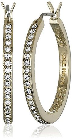 Cole Haan Look of Real Basics Gold Pave Medium with Basket Weave Hoop Earrings -- To view further for this item, visit the image link.