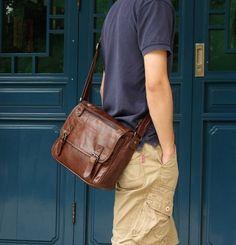 "Vintage Leather Messenger Bag / 11"" MacBook Air Satchel"