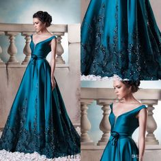 Satin Evening Dresses 2016 Sexy Deep V Neck Pageant Celebrity Dresses A  Line Sweep Train Lace Applique Beads Winter Formal Prom Gowns Elegant  Formal Dresses ... 1250df83028f