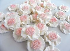 Rose Ruffle Cupcake Toppers - could do the ruffled toppers with daisies or just brush the edges of the ruffles with silver