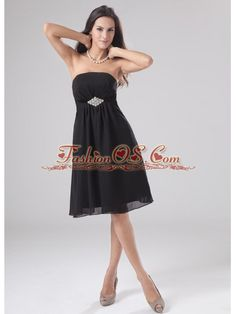 Beading A-Line Strapless Chiffon Knee-length Prom Dress Homecoming  http://www.fashionos.com  If you are looking for a simple but eleagnt dress, this one is your right choice. It features a strapless neckline with the waist area gathered together by a shining beaded brooch. The knee length skirt is soft and flowy for the chiffon fabric. The black color will also add you the charm of being eleant and sexy. Side zipper up finishes the whole design.