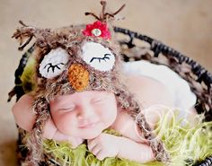 Baby SLEEPING Owl Hat Newborn 0 3m 6m Fuzzy Brown Sale Photo Prop Crochet Gender Neutral So CUTE and SOFT