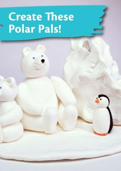 Sculpt puffy polar bears and cute penguins with Crayola Model Magic! | winter kids crafts