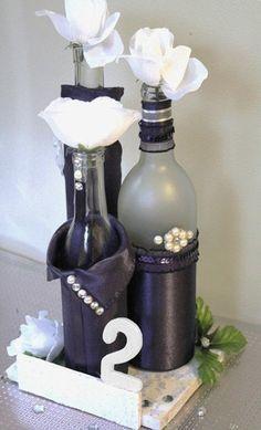 SET3 Decorated Wine Bottle Centerpiece LapisDeep by DazzlingGRACE, $50.00