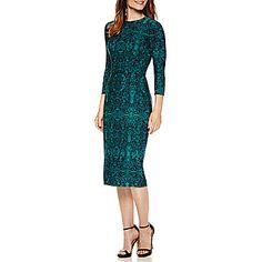 jcp   Liz Claiborne® 3/4 Sleeve Persian Carpet Print Sheath Dress