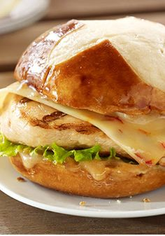 Grilled Chicken-Asiago Ranch Club – In just 20 minutes, this delicious chicken sandwich recipe is ready for the dinner table—prepared with bacon and cheese and served on a kaiser roll.