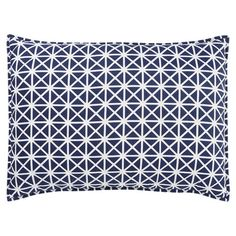 "Cotton percale pillow sham in indigo with a trellis motif. Hand-dyed in India.   Product: ShamConstruction Material: Cotton percaleColor: Indigo  Features: Hand-printed in IndiaInsert not included  Dimensions: Standard: 21"" x 27""Euro: 27"" x 27""  Cleaning and Care: Machine washable"