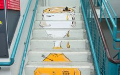 Hong Kong on Steps Art Displays at PMQ 元創方 until end April #PMQHK #PMQ #HongKong #Stairs #Art #BaoHo #BrainRental #CandyBird #Ceet #LeeTae-ho #OmniArt #Pokke104 #Graffiti More info at www.pmq.org.hk
