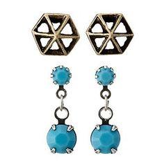 Ruff Hewn Set Of Two Geo Stud Earrings And Turquoise Drop Earrings