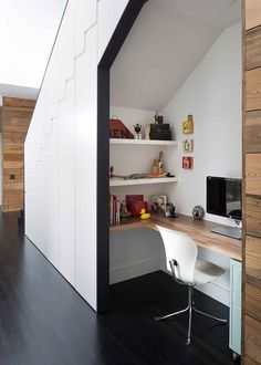 Built-In under Stairs Home Office More