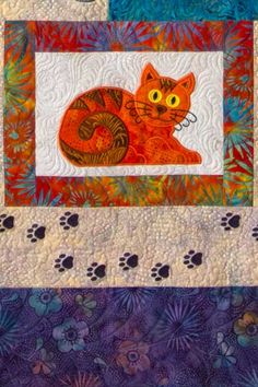 Cat's Meow quilt with machine embroidery, design by Lunch Box Quilts Dog Quilts, Animal Quilts, Mini Quilts, Cat Applique, Applique Templates, Applique Quilts, Cat Quilt Patterns, Machine Embroidery Patterns, Quilting Projects