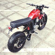 "Yamaha Scorpio ""The Red Tracker"" by Studio Motor Honda Scrambler, Yamaha Motorcycles, Cafe Racer Motorcycle, Motorcycle Style, Custom Motorcycles, Custom Bikes, Yamaha Tw 125, Image Moto, Tracker Motorcycle"