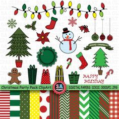 Christmas  Party Pack ClipArt CHRISTMAS DOODLES PACK by SAClipArt