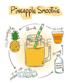 Recipe Journal: Pineapple Smoothie Recipe Cooking Journal, Lined and Numbered Blank Cookbook 6 x Picture Food, Blank Cookbook, Pineapple Smoothie Recipes, Recipe Drawing, Food Doodles, Thai Dessert, Food Journal, Recipe Journal, Food Drawing
