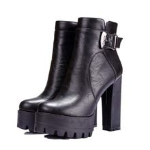 women boots punk Buckle Round Toe High boots Square heel Ankle boots for women platform Martin boots BIG SIZE 34-42(China (Mainland))