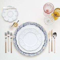 Blue Fluer de Lis Charger + The Signature Collection China + Birch Flatware + Pink/Amber/Cut Crystal Goblet Trio + Amber/Pink Salt Cellars   Casa de Perrin Design Presentation