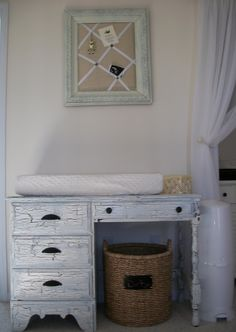 old desk into changing table - for arts and crafts when she's a big girl