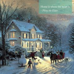 Thomas Kinkade Home for The Holidays print for sale. Shop for Thomas Kinkade Home for The Holidays painting and frame at discount price, ships in 24 hours. Thomas Kinkade Puzzles, Thomas Kinkade Art, Thomas Kinkade Christmas, Christmas Scenes, Christmas Art, Beautiful Christmas, Vintage Christmas, Kinkade Paintings, Oil Paintings
