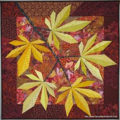 "Fiber Art Quilt  - ""Rusty Maple"""