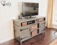 Rustic Media Center Free Plans | rogueengineer.com #DIYFurniturePlan #Livingroomdiyplan