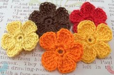 Crocheted Fall Flower Appliques by FineThreads on Etsy, $2.90