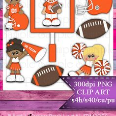 Clipart | Time For Football Orange White | Kristi W. Designs Reseller |  for Personal & Commercial Use Instant Download