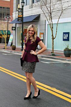 Burgundy Peplum, Leopard Skirt