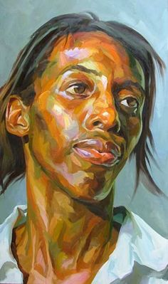 """""""Female Head"""" - Paul Wright archive, oil on canvas {contemporary #expressionist art african-american black woman face portrait painting} paul-wright.com"""