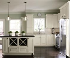 Kitchens with white cabinets and green walls Filmy Green Modern Kitchen With Offwhite Cabinets Pinterest Decoration Minimalist Room Sage Green Paint Colors For Kitchens