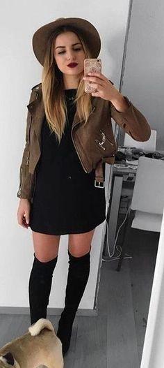 #winter #fashion /  Kaki Leather Jacket   Black Dress   Black OTK Boots