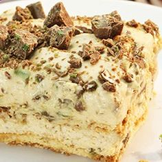 Peppermint Crisp tart: 1 packet tennis biscuits 1 can caramel treat 2c cream - fresh 400g Peppermint Crisp chocolate bars - grated cover dish bottom with rows of tennis biscuits. Whisk cream until stiff. In separate bowl mix caramel and peppermint crisp. (Keep 1/2 choc for decoration) Layer 100ml cream   caramel-choc.   biscuits. Sprinkle some peppermint crisp over and place in the fridge for 1 hour to set. Serve with a dollop of cream or as desired.