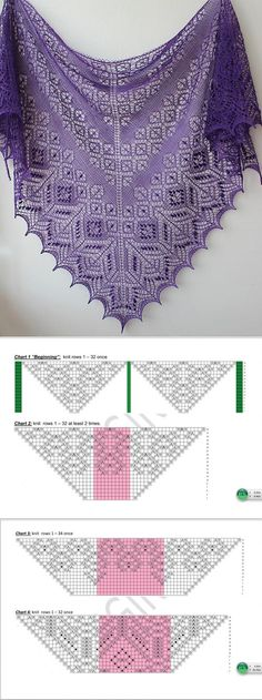 New Knitting Shawl And Wraps Tricot Ideas Lace Knitting Patterns, Shawl Patterns, Knitting Charts, Lace Patterns, Knitting Stitches, Free Knitting, Crochet Shawls And Wraps, Knitted Shawls, Crochet Scarves