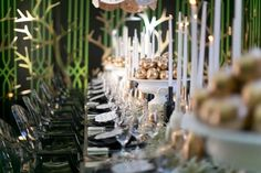 Garden of eden   Intimate garden dinner, Black, white, green, gold apples, candles, outoor hanging lanterns.   White Lilac Inc.   Event Design for Weddings, Fashion, Social, Corporate.   www.whitelilacinc.com
