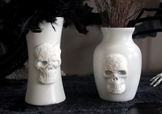 pb-inspired skull vases made from dollar store stuff - by Danielle at My EnRoute Life & featured at Dollarstorecrafts.com