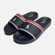 Kid's Shoes by Ralph Lauren Polo. Men Sandals, Slide Sandals, Ralph Lauren Bags, Polo Ralph Lauren, Navy And White, Navy Blue, Adidas Slides, Toddler Sandals, Skyfall