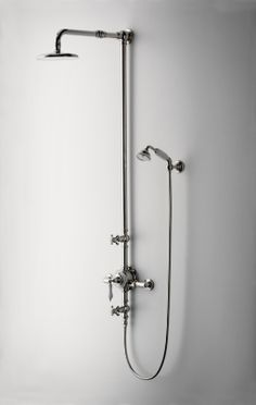 Etoile Exposed Thermostatic System with Shower Rose and Handshower and White Porcelain Lever Handles - Waterworks Waterworks Bathroom, Bathroom Spa, Laundry In Bathroom, Bathroom Ideas, Laundry Doors, Shower Rose, Shower Fittings, Dream Bath, Vintage Bathrooms