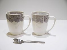 China Mugs, Pair With Lace Design