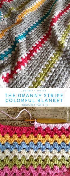 blanket patterns granny square Versatile and Colorful Granny Stripe Bla. blanket patterns granny square Versatile and Colorful Granny Stripe Blankets Granny Stripe Crochet, Granny Stripes, Granny Stripe Blanket, Striped Crochet Blanket, Crochet Blanket Patterns, Granny Squares, Crochet Baby, Simple Crochet Blanket, Free Crochet