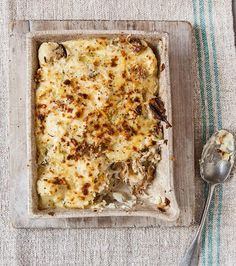 The smoked mackerel flavour is really brought out in this warm and comforting gratin recipe with potato and cauliflower.
