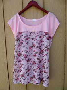 Easy peasy one piece t shirt with sheer overlay bodice