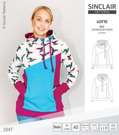 Pdf sewing pattern Hoodie with thumbhole cuffs and cowl for women # sewing projects for women Lotte colorblocked hoodie for women (PDF) Sewing Patterns Free, Free Sewing, Clothing Patterns, Baby Sewing, Sewing Tips, Sewing Ideas, Sinclair, Hoodie Pattern, Sewing Projects For Beginners