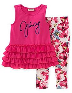 Juicy Couture Little Girls' Toddler 2 Piece Pant Set-Ruffles, Pink, 2 pieces pant set - ruffled tunic and printed leggings Floral Leggings, Printed Leggings, Tunic Leggings, Toddler Outfits, Kids Outfits, Toddler Girls, Infant Toddler, Baby Girls, Cute Baby Clothes