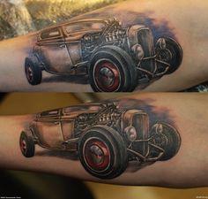 car tattoos | Grey Ink Hot Rod Car Tattoo On Arm
