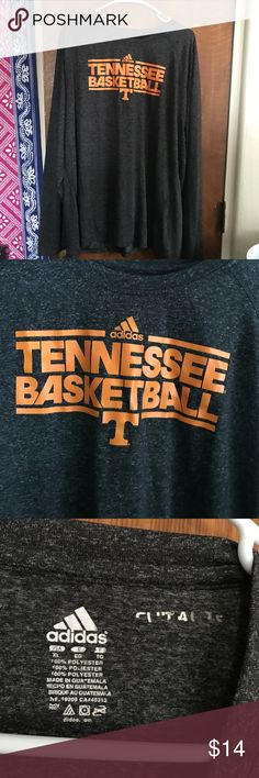 """ADIDAS TENNESSEE BASKETBALL LONG SLEEVE MENS Adidas Climate long sleeve shirt. Tenneessee basketball written across in orange. Grey sweat wicking favric. """"Climate"""" tag on back rubbed off a pit but otherwise good condition. Size XL. Go Vols! adidas Shirts Tees - Long Sleeve"""