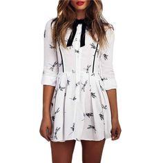 Dmart7deal; Mini Dress Long Sleeve Dragonfly Print Short Dress