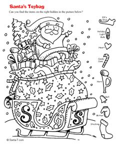 Hidden Santa Picture Coloring Page Printout. More fun holiday activities at SantaTimes.com  #santa #hiddenpicture