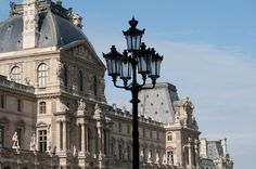 street light near Musee du Louvre Places Around The World, Around The Worlds, Street Lamp, Dream Vacations, Parisian, Big Ben, North America, Beautiful Places, Louvre
