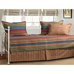 Katy Five-piece Striped Cotton/Microfiber Polyester Daybed Set | Overstock.com Shopping - The Best Prices on Daybed Covers